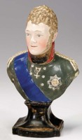 Bust of Alexander I of Russia. Made by Wood and Caldwell, Burslem, Staffordshire.