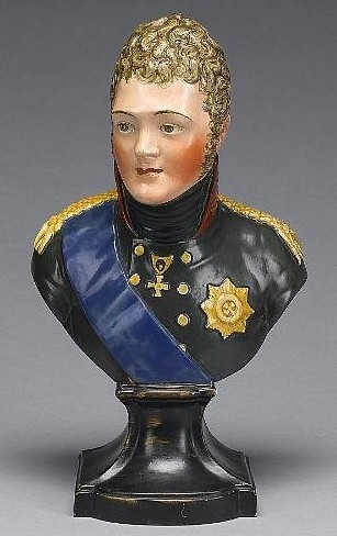 Bust of Alexander I of Russia. Made by Wood and Caldwell, Burslem, Staffordshire figure pottery.