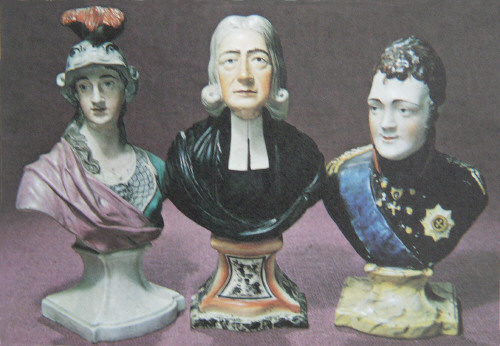 Staffordshire figures of Minerva ,John Wesley  and Alexander. Made by Wood and Caldwell 1790-1818