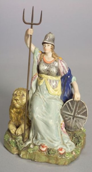 Staffordshire figure Britannia and lion made by Wood and Caldwell 1790-1818