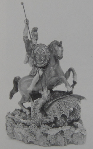 Staffordshire figure St George and the Dragon made by Wood and Caldwell 1790-1818
