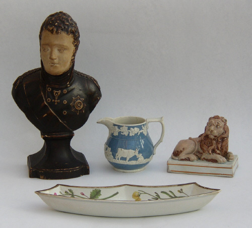 Picture of four examples of Wood and Caldwell pottery from the period 1790-1818