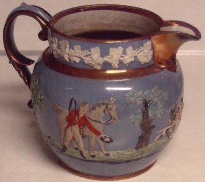 Staffordshire pottery jug made by Wood and Caldwell 1791-1818 china