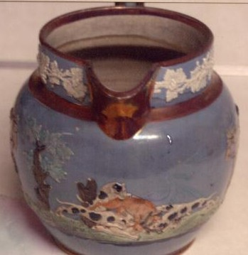 Staffordshire pottery jug made by Wood and Caldwell 1791-1818 china front